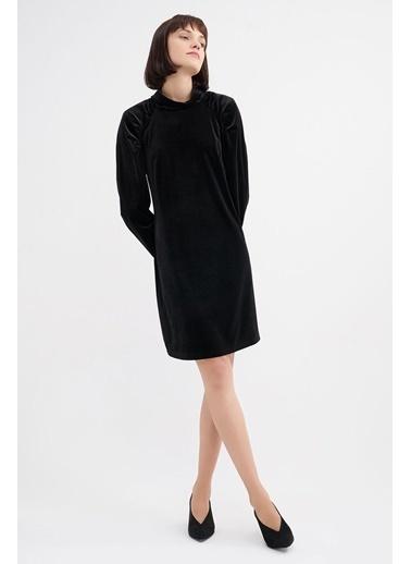 BGN Siyah - Kadife Mini Elbise Siyah
